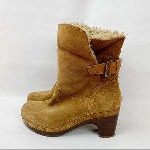 UGG Leather Sheepskin Lined Boots Size 7